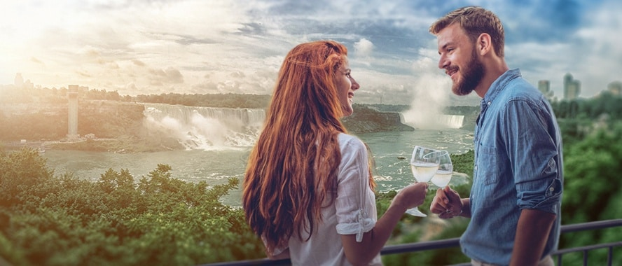 Couple drinking wine by Niagara Falls