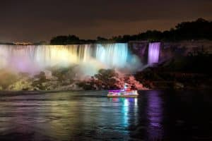 Night time Illumination of American Falls with Hornblower Niagara Cruises
