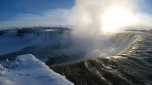 The partially frozen Niagara Falls in January.
